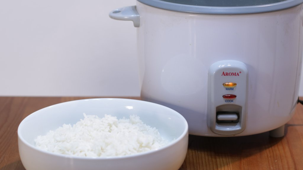 Rice cooker next to a white bowl of cooked rice