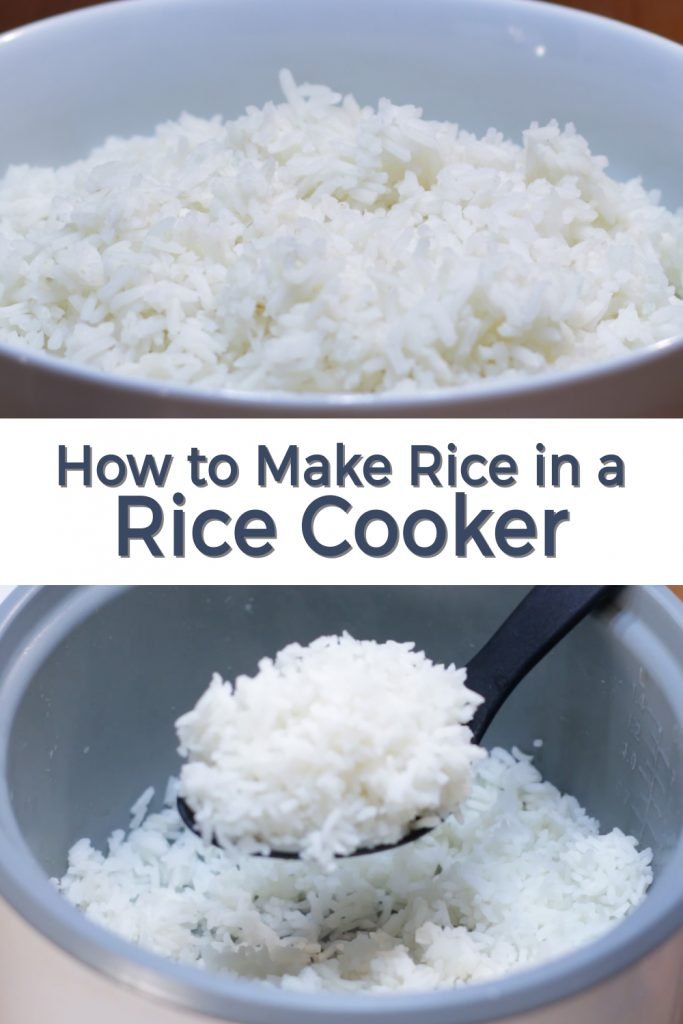 How to make rice in a rice cooker pin for Pinterest