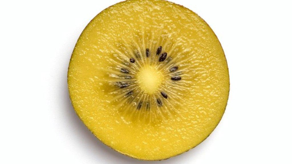 Slice of a gold kiwi